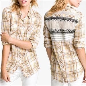 Free People Plaid Frayed Hem Flannel